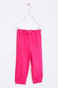 Pantaloni pura viscosa tinta unita, Rosa fuxia, hi-res