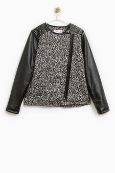 Knitted jacket with studs, Black/Grey, hi-res
