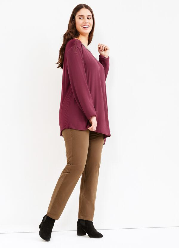 Curvy stretch cotton twill trousers | OVS