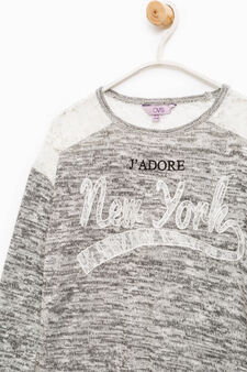 Mélange cotton T-shirt with lace, Grey, hi-res