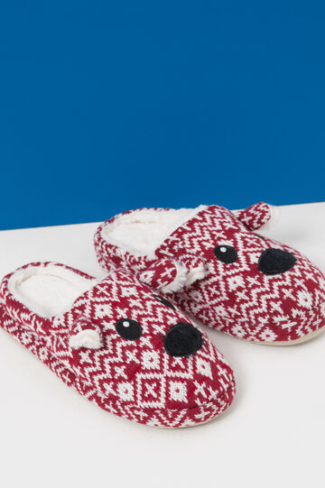 Slippers with patch and ears, Red, hi-res