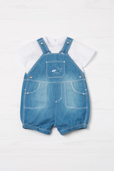 Completo t-shirt e salopette di jeans, Denim, hi-res