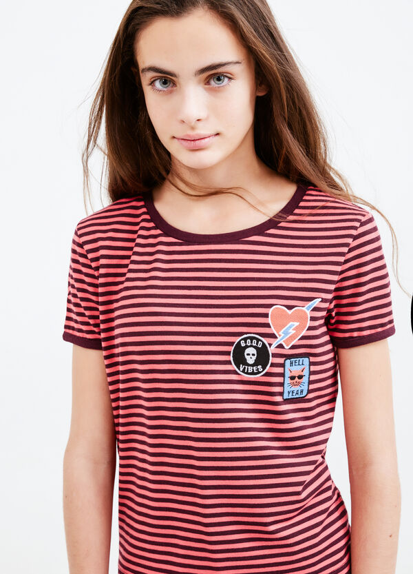 Teen striped viscose T-shirt with patches | OVS