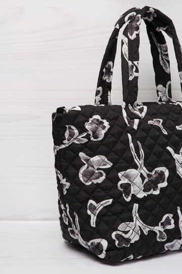 Floral pattern shoulder bag, Black/White, hi-res