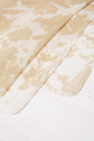 100% viscose printed scarf., Beige, hi-res