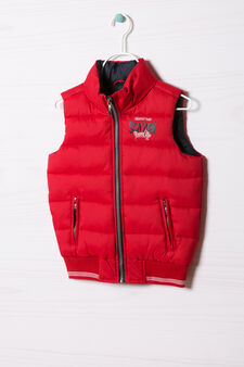 Quilted waistcoat with high collar, Red, hi-res