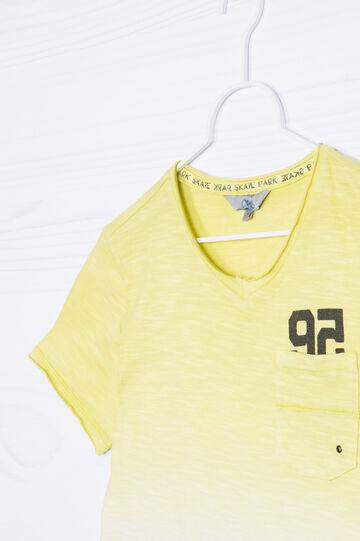 T-shirt puro cotone degradé, Bianco/Giallo, hi-res