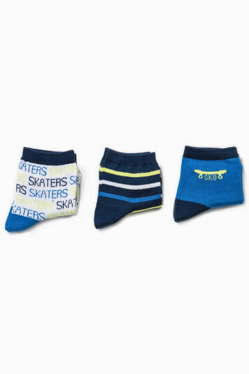 Three-pair pack embroidered and striped socks, Royal Blue, hi-res