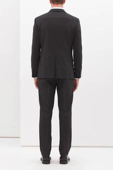 Elegant, slim-fit, wool-blend suit, Grey, hi-res