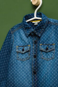 Patterned denim shirt, Denim, hi-res