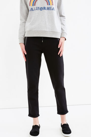 Joggers with two pockets with zip, Black, hi-res
