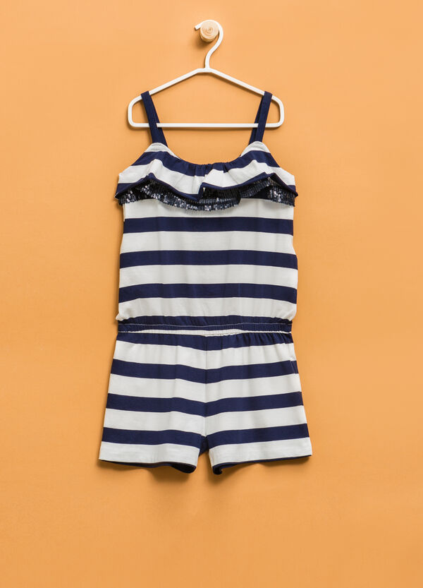 Jumpsuit in striped stretch cotton | OVS