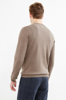 Solid colour cashmere and silk pullover, Tobacco Brown, hi-res