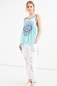 Cotton and modal top with print, Light Blue, hi-res