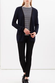 Open cardigan with loose knit finish, Navy Blue, hi-res