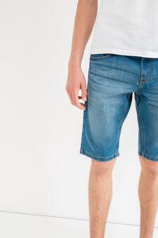 Slim-fit worn denim Bermuda shorts, Light Wash, hi-res