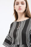 Short stretch patterned dress, White/Black, hi-res