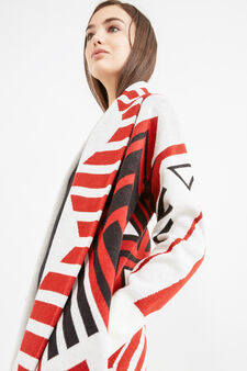Coat with shawl neck and all-over print, White, hi-res
