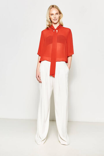 Crop blouse with tie fastening, Orange, hi-res