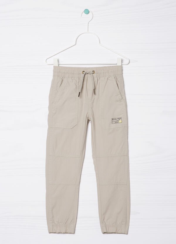 100% cotton trousers with patch | OVS