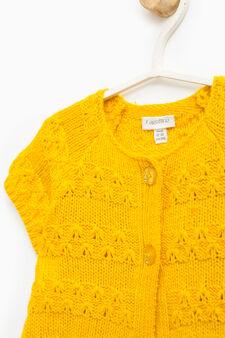 Cardigan tricot a maniche corte, Giallo, hi-res