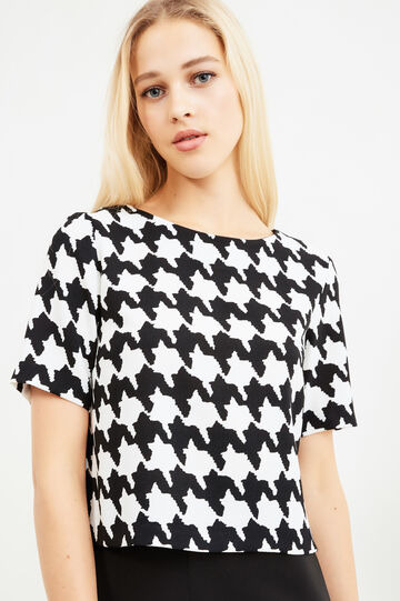 All-over herringbone print blouse., White/Black, hi-res