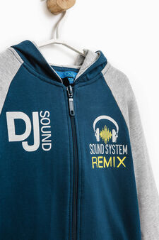 100% cotton tracksuit with printed lettering, Blue/Grey, hi-res