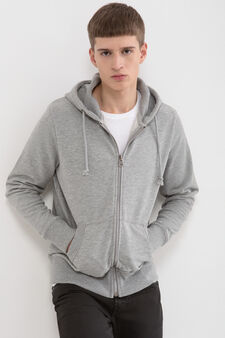 Sweatshirt in cotton with print, Light Grey, hi-res