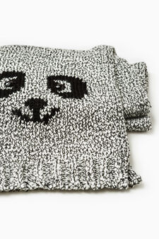 Knitted embroidered scarf, Grey, hi-res