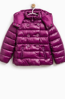 Down jacket with hood and snap-buttons, Claret Red, hi-res