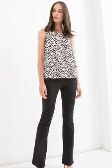 Animal patterned sleeveless blouse, Chalk White, hi-res