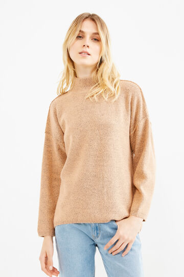 High-neck stretch pullover in wool, Peach Orange, hi-res