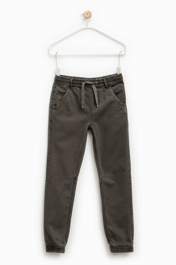 Cotton trousers with elasticated waistband