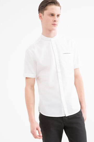 100% cotton shirt with mandarin collar, White, hi-res