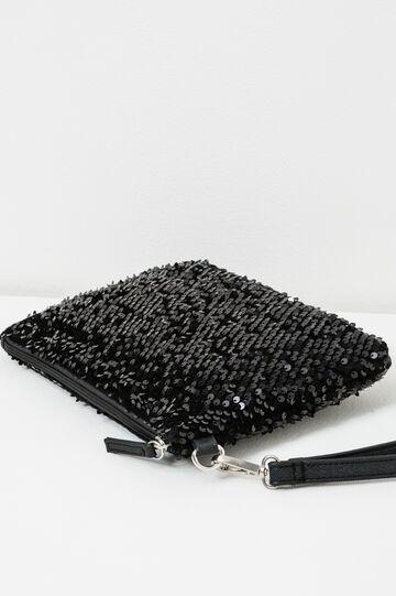 Solid colour clutch with sequins, Black, hi-res