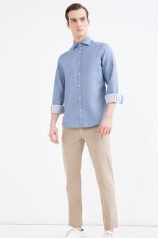 Solid colour slim-fit shirt, Soft Blue, hi-res