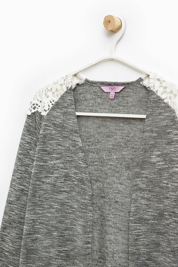 Viscose blend cardigan with lace | OVS