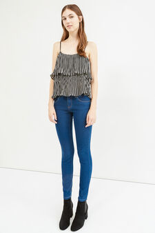 Solid colour skinny fit stretch jeans, Dark Blue, hi-res