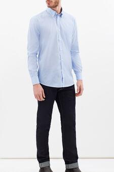 Regular-fit cotton blend shirt, Light Blue, hi-res