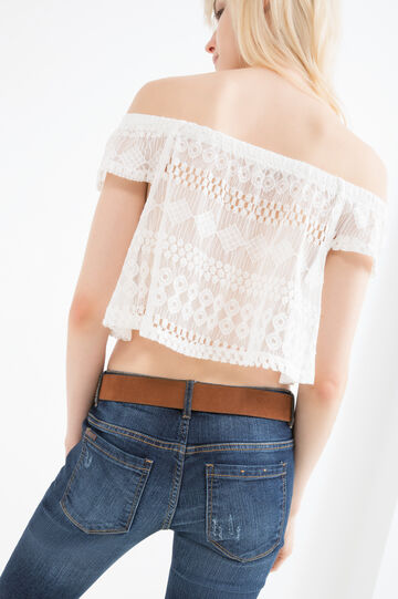 Cotton blend cropped T-shirt, Off-white, hi-res
