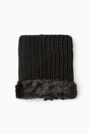 Neck warmer with faux fur trim, Black, hi-res