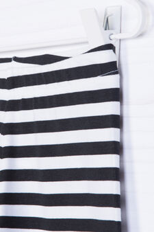 Printed stretch cotton leggings, White/Black, hi-res