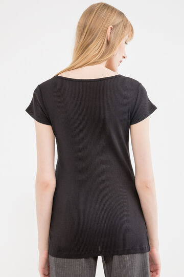 100% cotton T-shirt with ribbing, Black, hi-res