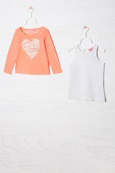 Doppia maglia cotone stretch, Arancione fluo, hi-res