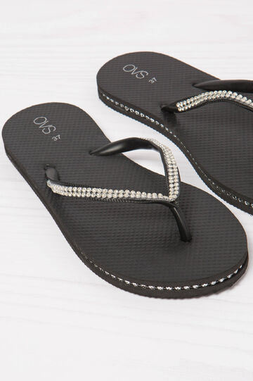 Solid colour thong sandal with diamanté detail, Black, hi-res