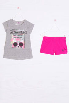 Stretch cotton outfit with print, Grey/Pink, hi-res