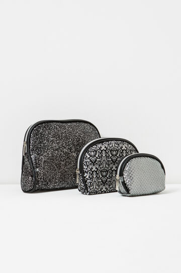 Set of three makeup bags, Black, hi-res
