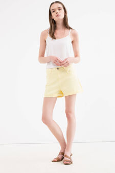 Shorts cotone stretch tinta unita, Giallo limone, hi-res