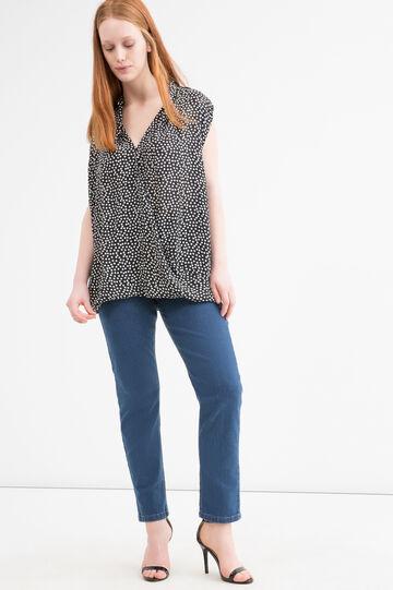 Curvy patterned sleeveless blouse, Black/White, hi-res