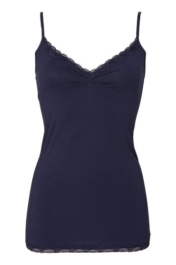 Stretch cotton top with lace, Navy Blue, hi-res